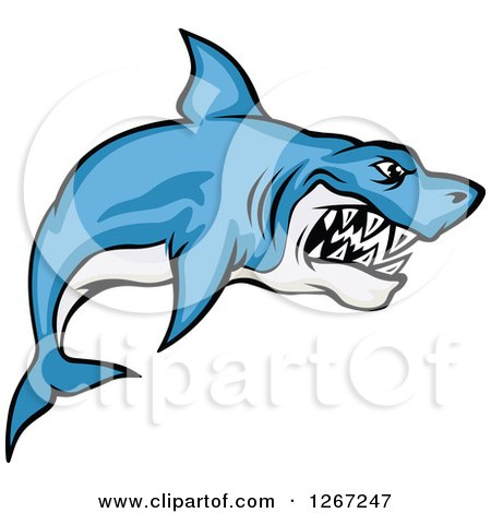 Clipart of a Vicious Blue and White Shark - Royalty Free Vector Illustration by Vector Tradition SM