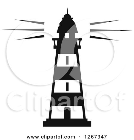 Clipart Of A Black And White Lighthouse Shining