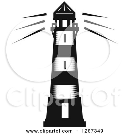 Clipart of a Black and White Woodcut Shining Lighthouse - Royalty Free Vector Illustration by Vector Tradition SM