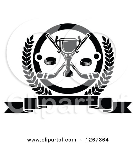 Clipart of a Black and White Trophy with Crossed Hockey Sticks and Pucks in a Circle and Laurel Wreath over a Blank Banner - Royalty Free Vector Illustration by Vector Tradition SM