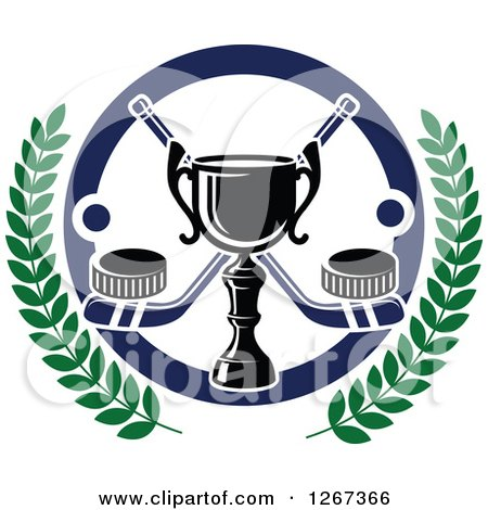 Clipart of a Trophy over Crossed Hockey Sticks with Pucks in a Circle with Laurel Branches - Royalty Free Vector Illustration by Vector Tradition SM