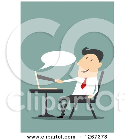 Clipart of a Businessman Shaking Hands with a Partner Through a Computer - Royalty Free Vector Illustration by Vector Tradition SM