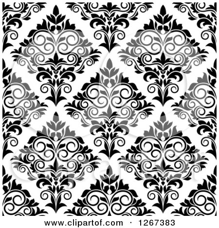 Clipart of a Seamless Pattern Background of Vintage Black and White Ornate Floral Damask - Royalty Free Vector Illustration by Vector Tradition SM