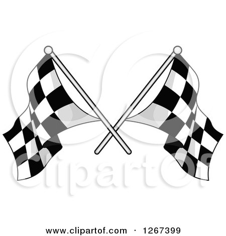 Clipart of Crossed Grayscale Checkered Racing Flags - Royalty Free Vector Illustration by Vector Tradition SM