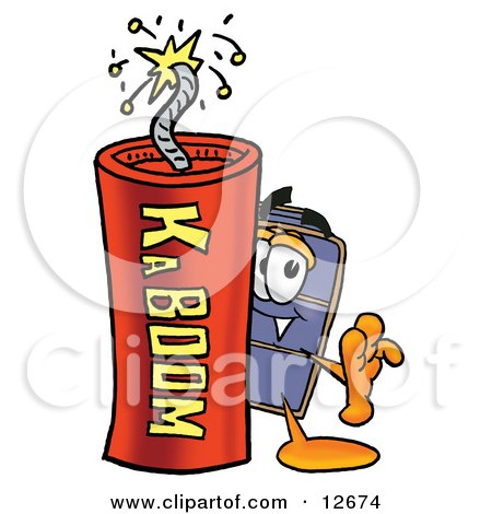 Clipart Picture of a Suitcase Cartoon Character Standing With a Lit Stick of Dynamite by Toons4Biz