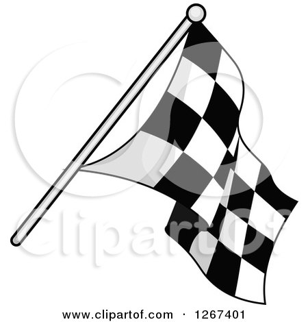 Clipart of a Grayscale Checkered Racing Flag - Royalty Free Vector Illustration by Vector Tradition SM