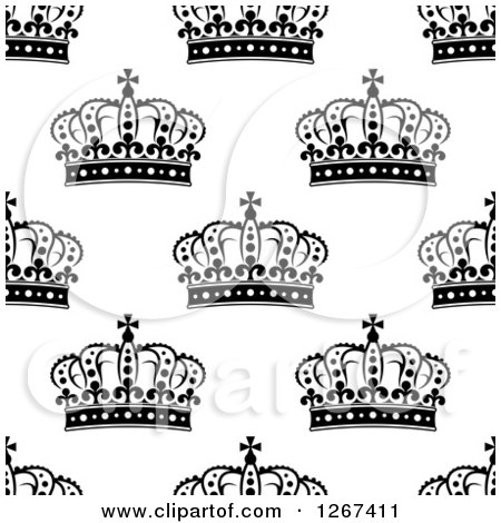 Clipart of a Seamless Background Pattern of Black and White Ornate Crowns - Royalty Free Vector Illustration by Vector Tradition SM