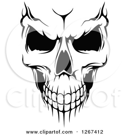 Black and White Human Skull with an Evil Expression Posters, Art Prints