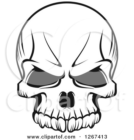 Black and White Human Skull with a Stern Expression Posters, Art Prints