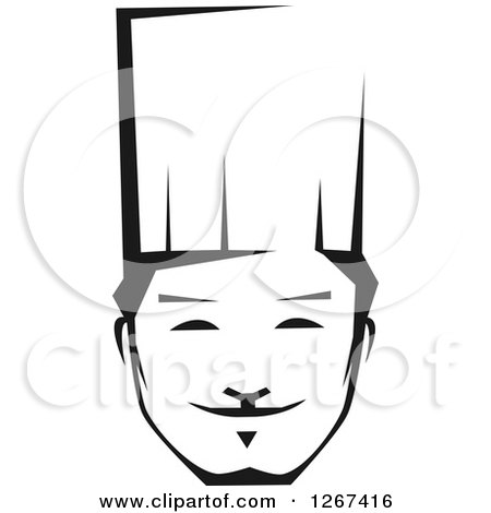 Clipart of a Black and White Happy Young Male Asian Chef Face - Royalty Free Vector Illustration by Vector Tradition SM