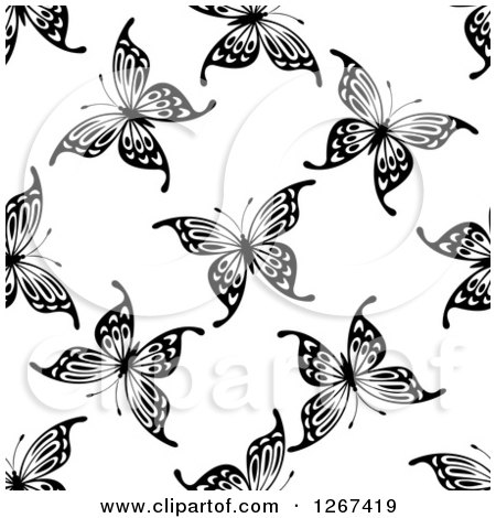 Clipart of a Seamless Black and White Butterfly Background Pattern 9 - Royalty Free Vector Illustration by Vector Tradition SM