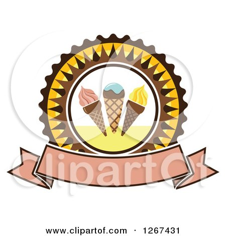 Clipart of a Yellow and Brown Ice Cream Cone Badge with a Blank Banner - Royalty Free Vector Illustration by Vector Tradition SM