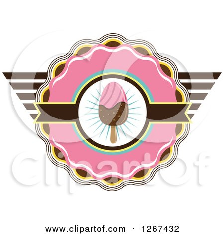 Clipart of a Pink Yellow and Brown Ice Cream Popsicle Badge - Royalty Free Vector Illustration by Vector Tradition SM