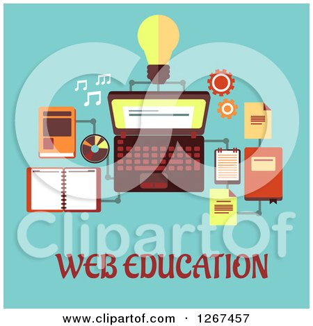 Clipart of Web Education Text Under a Laptop and Accessories on Blue - Royalty Free Vector Illustration by Vector Tradition SM