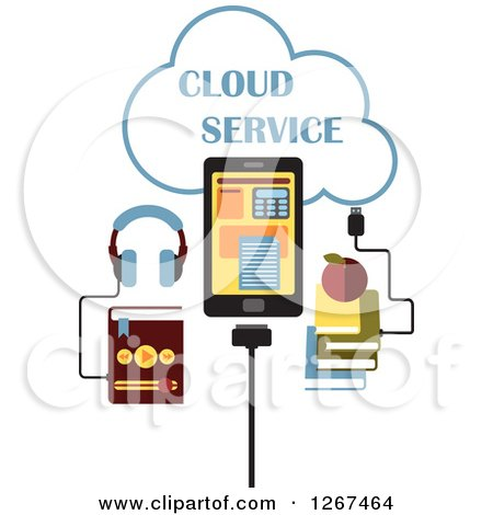 Clipart of a Cloud Service Design with an MP3 Music Player, Tablet Computer and Books - Royalty Free Vector Illustration by Vector Tradition SM