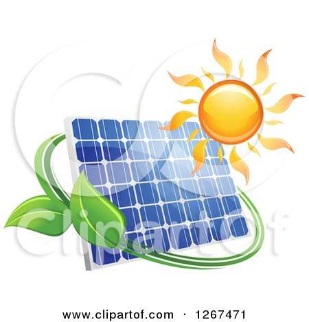 Clipart of a Sun over a Solar Panel Encircled with a Green Vine - Royalty Free Vector Illustration by Vector Tradition SM