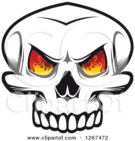 Clipart of a Black and White Human Skull with Flames in the Eye Sockets - Royalty Free Vector Illustration by Vector Tradition SM
