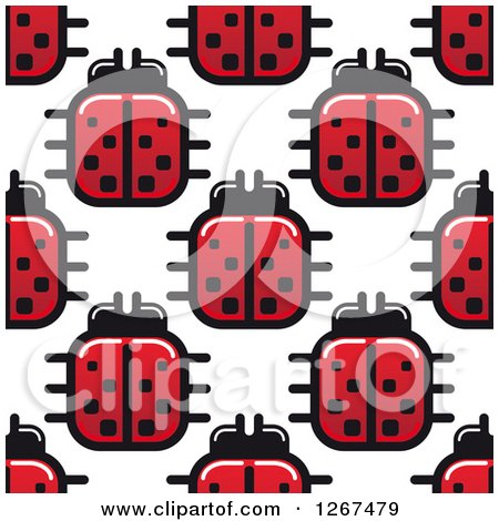 Clipart of a Seamless Pattern Background of Square Ladybugs - Royalty Free Vector Illustration by Vector Tradition SM