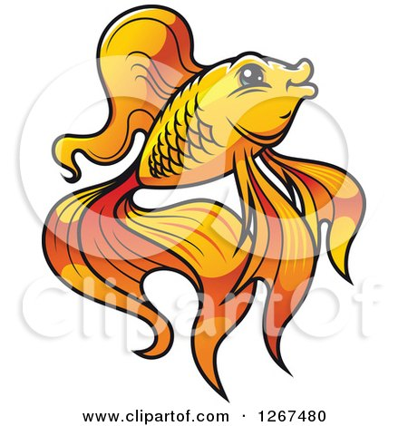 Clipart of a Cartoon Fancy Goldfish in Profile - Royalty Free Vector Illustration by Vector Tradition SM