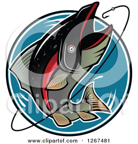 Clipart of a Jumping Trout Fish and Hook over a Blue Circle - Royalty Free Vector Illustration by Vector Tradition SM