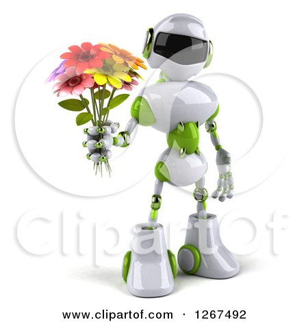 Clipart of a 3d White and Green Robot Holding a Flower Bouquet - Royalty Free Illustration by Julos