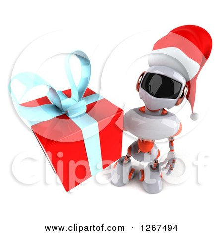 Clipart of a 3d White and Orange Christmas Robot Holding up a Gift - Royalty Free Illustration by Julos