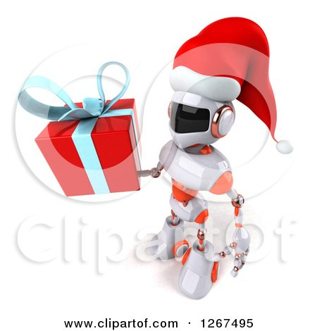 Clipart of a 3d White and Orange Christmas Robot Facing Left and Holding a Gift - Royalty Free Illustration by Julos