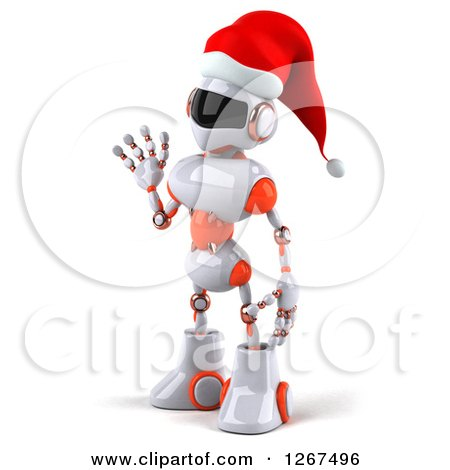 Clipart of a 3d White and Orange Christmas Robot Facing Left and Waving - Royalty Free Illustration by Julos