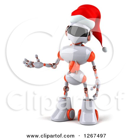 Clipart of a 3d White and Orange Christmas Robot Presenting - Royalty Free Illustration by Julos