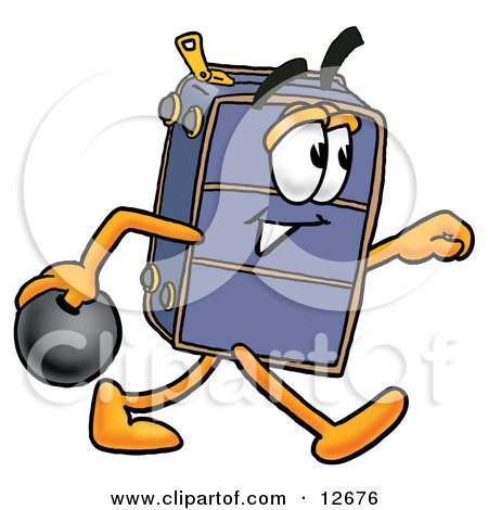 Clipart Picture of a Suitcase Cartoon Character Holding a Bowling Ball by Toons4Biz