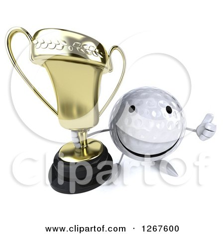 Clipart of a 3d Happy Golf Ball Character Holding a Thumb up and a Trophy - Royalty Free Illustration by Julos