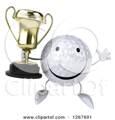 Clipart of a 3d Happy Golf Ball Character Jumping and Holding a Trophy - Royalty Free Illustration by Julos
