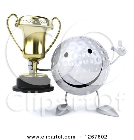 Clipart of a 3d Happy Golf Ball Character Holding up a Finger and a Trophy - Royalty Free Illustration by Julos