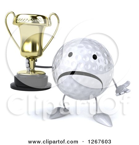 Clipart of a 3d Unhappy Golf Ball Character Shrugging and Holding a Trophy - Royalty Free Illustration by Julos