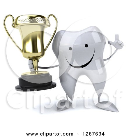 Clipart of a 3d Happy Tooth Character Holding up a Finger and a Trophy - Royalty Free Illustration by Julos