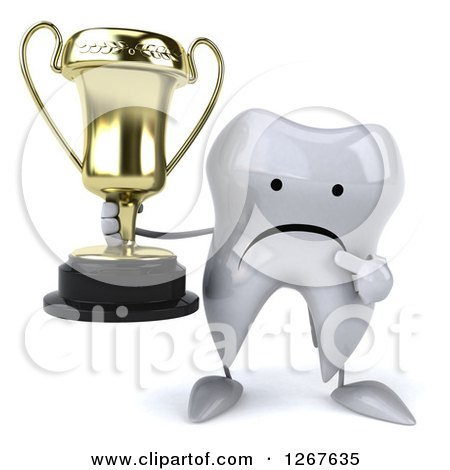 Clipart of a 3d Unhappy Tooth Character Holding and Pointing to a Trophy - Royalty Free Illustration by Julos