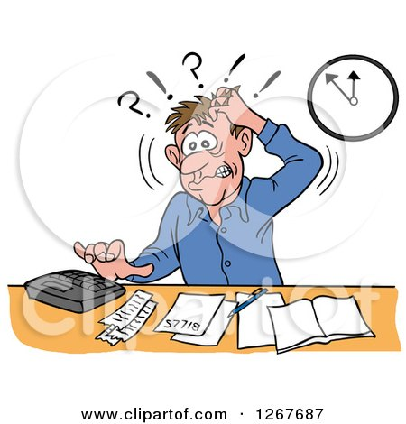 Clipart of a Frustrated White Male Bookkeeper Pulling His Hair and Using a Calculator at His Desk - Royalty Free Vector Illustration by LaffToon