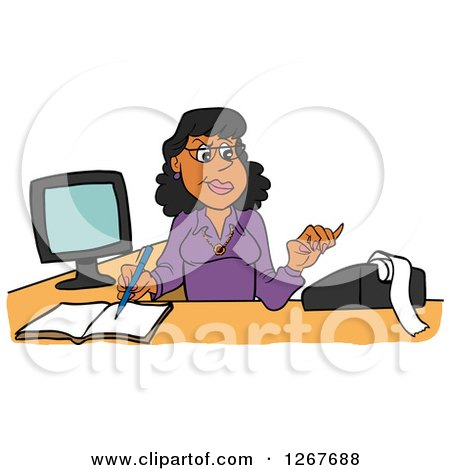 Clipart of a Black Female Bookkeeper Using a Calculator at Her Desk - Royalty Free Vector Illustration by LaffToon