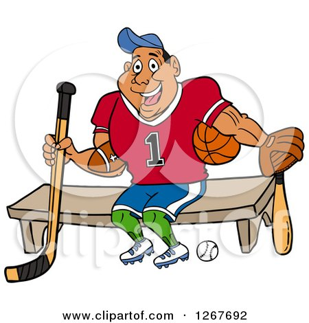 Clipart Of A Muscular Black Male Jock Sitting With Sports Equipment Royalty Free Vector Illustration