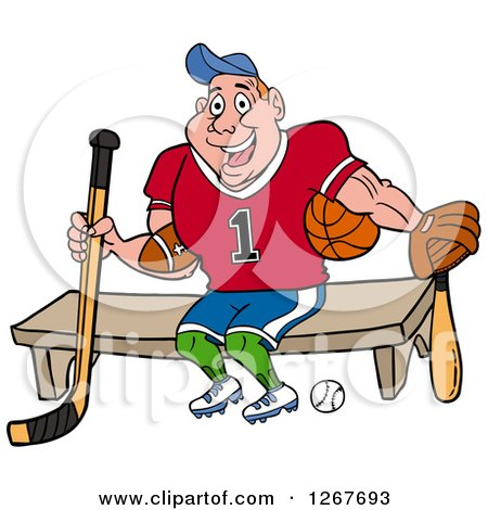 Clipart of a Muscular White Male Jock Sitting with Sports Equipment - Royalty Free Vector Illustration by LaffToon