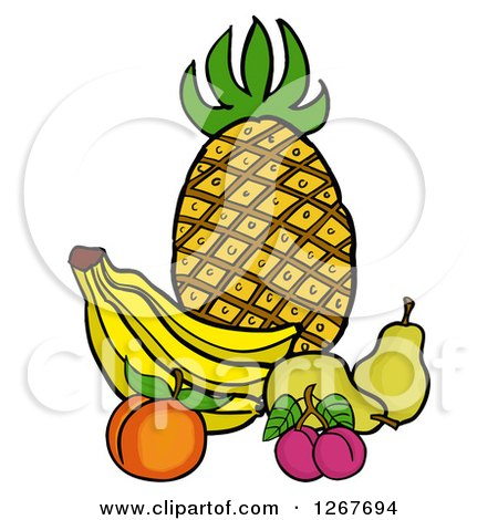 Clipart of a Still Life of Pineapple, Bananas, a Peach, Plums and Pears - Royalty Free Vector Illustration by LaffToon