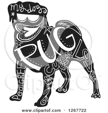 Clipart of a Black and White Pug Dog with Text - Royalty Free Vector Illustration by Prawny