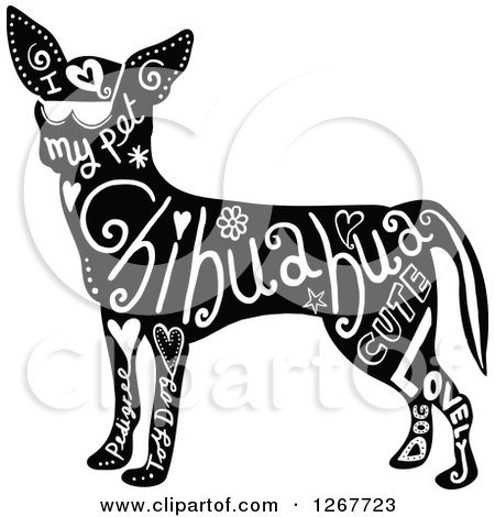 Clipart of a Black and White Chihuahua Dog with Text - Royalty Free Vector Illustration by Prawny