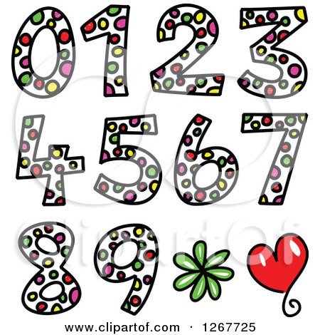 Clipart of Colorful Sketched Dot Patterned Numbers - Royalty Free Vector Illustration by Prawny