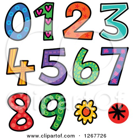Clipart of Colorful Sketched Patterned Numbers - Royalty Free Vector Illustration by Prawny
