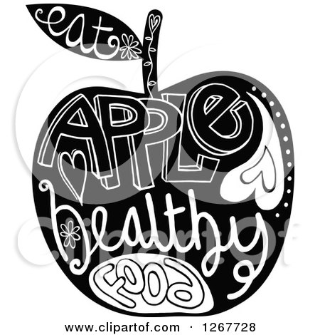 Clipart of a Black and White Apple with Doodle Text - Royalty Free Vector Illustration by Prawny