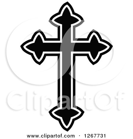Clipart of a Black and White Celtic Christian Cross - Royalty Free Vector Illustration by Prawny