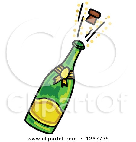 clipart of a sketched champagne bottle and popping cork royalty rh clipartof com champagne bottle clipart free champagne bottle clipart black and white
