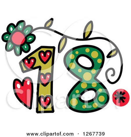 Clipart of a Colorful Sketched Patterned Number 18 - Royalty Free Vector Illustration by Prawny