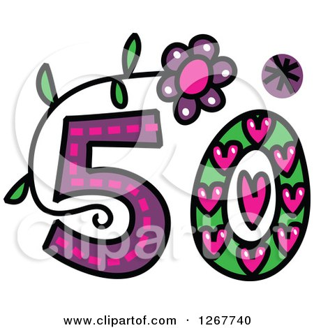 Clipart Of A Colorful Sketched Patterned Number 50